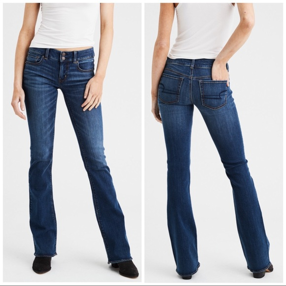 Women/'s American Eagle Outfitters AE Hipster Flare Jeans Size 4 SHORT